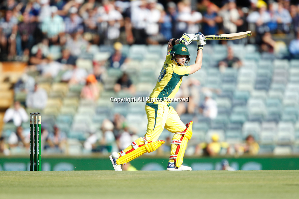 January 19th 2017, Waca Ground, Perth, Australia; Victoria Bitter ODI Cricket, Australian versus Pakistan-3rd ODI; Steve Smith plays through the off side during his innings.