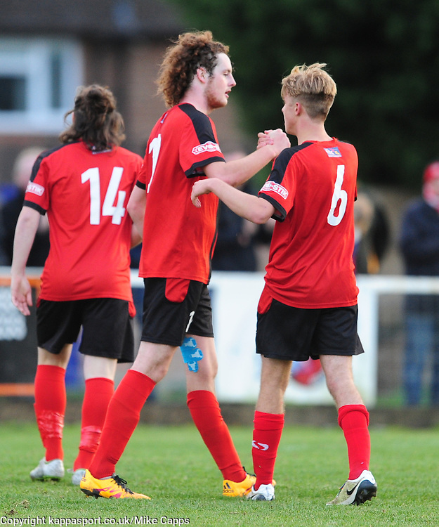 LIAM CANAVAN KETTERING TOWN,  FIRES IN KETTERINGS THIRD GOAL AND CELEBRATES, Kettering Town v Weymouth, Evostick Southern League Premier, Latimer Park Saturday 22nd October 2016<br /> Score 3-1