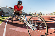 Team USA Track & Field Paralympian, Erik Hightower after winning the 400meter (49.63 sec) at Sun Angel Stadium in Tempe, Arizona.