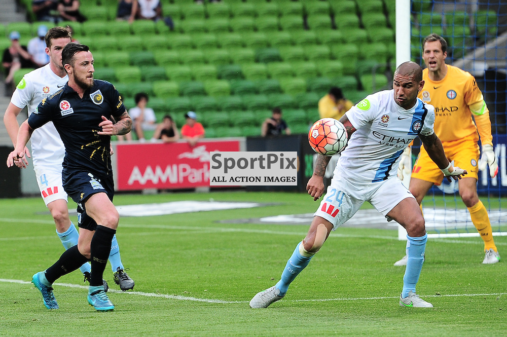 Roy O'Donovan of Central Coast Mariners, Stefan Zinni of Melbourne City, Patrick Kisnorbo of Melbourne City, Thomas Sorensen (GK) of Melbourne City - Hyundai A-League,  25th October 2015, RD 3, Melbourne City FC v Central Coast Mariners with a win to City 3:1 © Mark Avellino   SportPix.org.uk