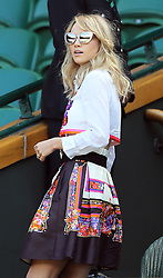 Image licensed to i-Images Picture Agency. 04/07/2014. London, United Kingdom.  Suki Waterhouse  in the Royal box  on day eleven of the Wimbledon Tennis Championships . Picture by Stephen Lock / i-Images