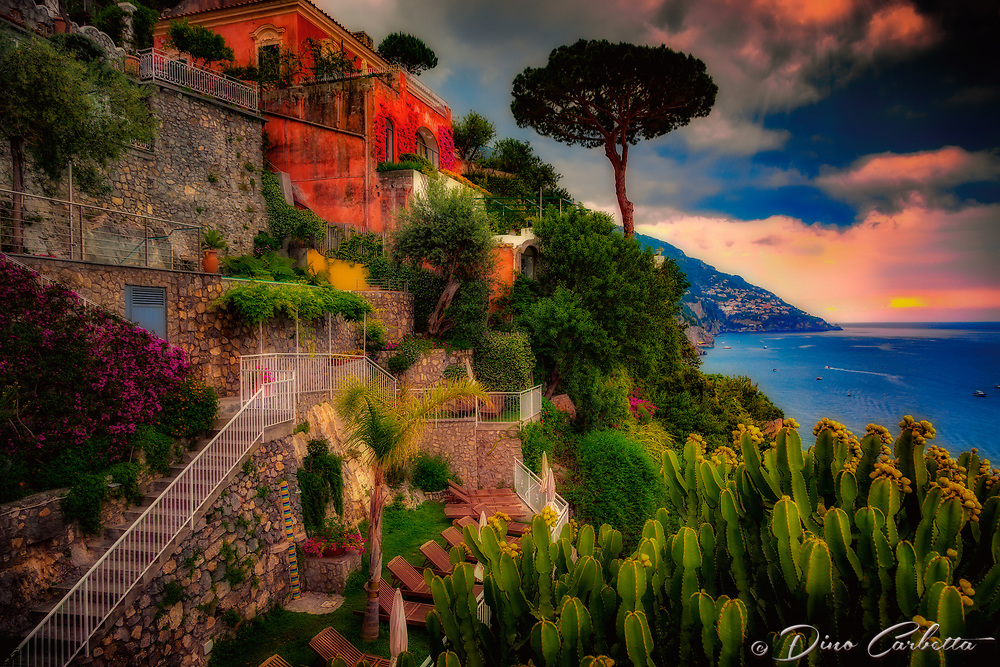 """Sunset over Praiano from the Hotel California Positano""…<br />