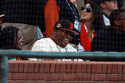 SAN FRANCISCO, CA - AUGUST 13: Rapper E-40 looks on from the stands during the fourth inning between the San Francisco Giants and the Oakland Athletics at Oracle Park on August 13, 2019 in San Francisco, California. The San Francisco Giants defeated the Oakland Athletics 3-2. (Photo by Jason O. Watson/Getty Images) *** Local Caption *** E-40
