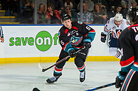 KELOWNA, CANADA - SEPTEMBER 22:  Kaedan Korczak #6 of the Kelowna Rockets skates against the Kamloops Blazers on September 22, 2018 at Prospera Place in Kelowna, British Columbia, Canada.  (Photo by Marissa Baecker/Shoot the Breeze)  *** Local Caption ***