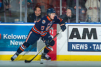 KELOWNA, CANADA - FEBRUARY 24: Nolan Kneen #27 of the Kamloops Blazers skates with the puck against the Kelowna Rockets on February 24, 2018 at Prospera Place in Kelowna, British Columbia, Canada.  (Photo by Marissa Baecker/Shoot the Breeze)  *** Local Caption ***