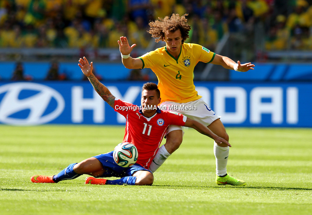 David Luiz of Brazil and Eduardo Vargas of Chile