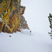 Tanner Flanagan skis backcountry powder during a winter storm in the Tetons near Jackson Hole Mountain Resort in Teton Village, Wyoming.