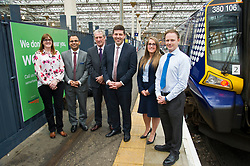 Pictured: Jacquelyn Bell, Karampal Sidnu, Jom Gibson; Michelle Murray and Liam Casey joined the minister following the announcement<br /> Minister for Employability and Training Jamie Hepburn launched a &pound;10 million Flexible Workforce Development Fund which will partner industry with colleges to deliver in-work skills training during a visit to Waverlety Station in Edinburgh today. Mr Hepburn met to meet ScotRail staff who have undertaken in-work training to further their careers along with represenatatives from the Further Education sector.<br /> <br /> <br /> Ger Harley | EEm 7 September 2017