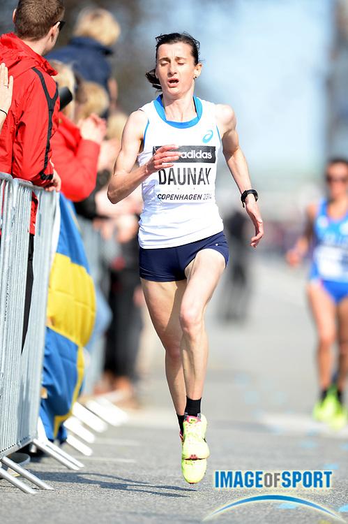 Mar 29, 2014; Copenhagen, Denmark; Christelle Daunay (FRA) places seventh in 1:08:48 in the IAAF/AL-Bank World Half Marathon Championship. Photo by Jiro Mochizuki
