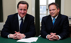 Leader of the Conservative Party David Cameron with Grant Shapps, Member of Parliament for Welwyn Hatfield in his office in Norman Shaw South, January 5, 2010. Photo By Andrew Parsons / i-Images.