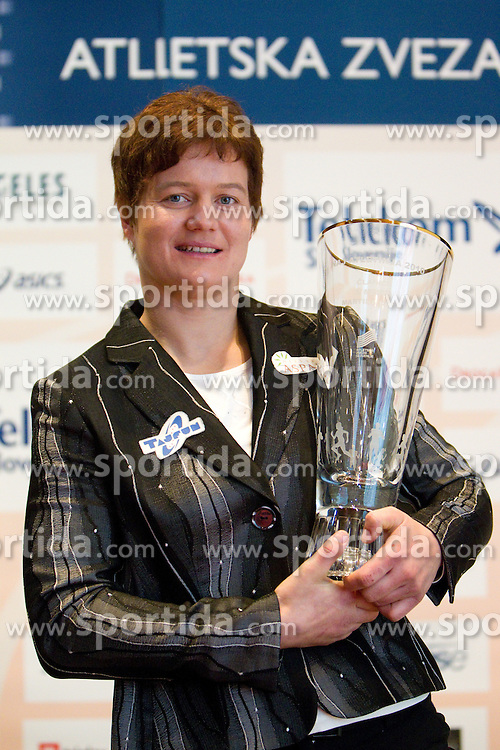 Martina Ratej poses with her Athlete of the Year Award during the Slovenia's Athlete awards ceremony by Slovenian Athletics Federation AZS, on November 12, 2008 in Hotel Mons, Ljubljana, Slovenia.(Photo By Vid Ponikvar / Sportida.com) , on November 12, 2010.