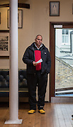 Putney-Chiswick.  Greater    London, UK. Race Umpire, Sir Steven REDGRAVE delivers his race briefing, before the 2015 Wingfield Scull Race, over the Championship Course, River Thames  Thursday  12/11/2015 <br /> <br /> [Mandatory Credit: Peter SPURRIER: Intersport Images]
