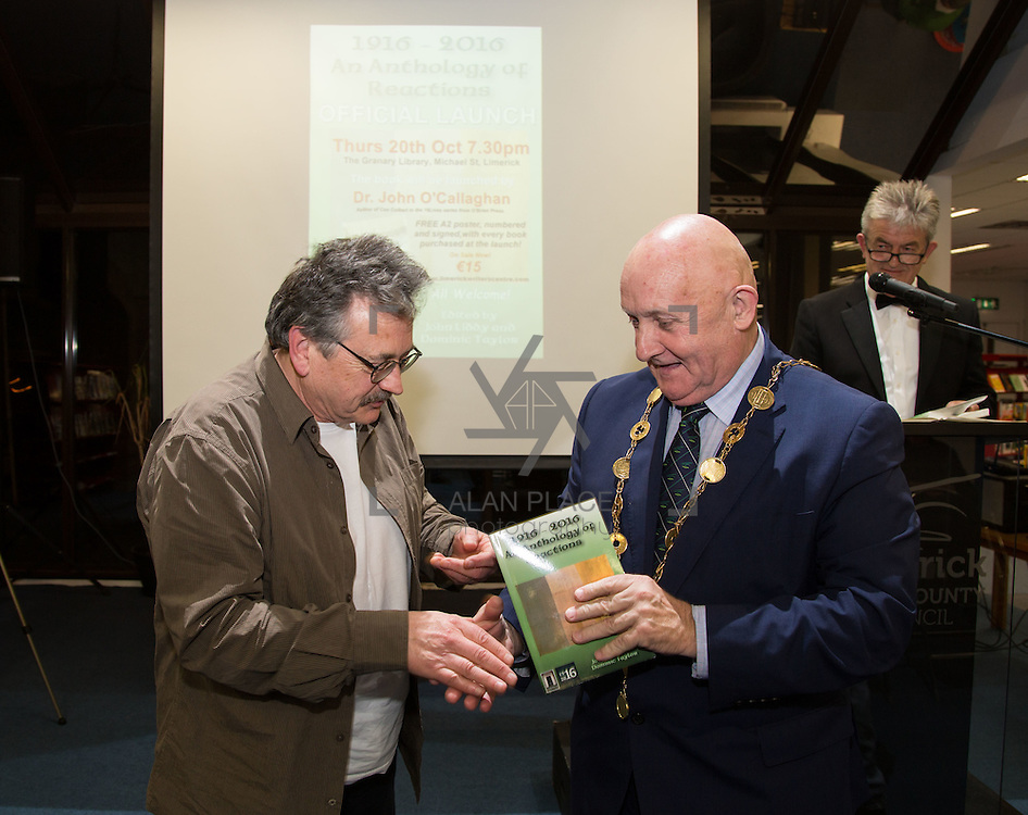 20.10.2016                 <br />  Launch of 1916-2016 Anthology of Reactions by Dr. John O&rsquo;Callaghan, Limerick City Library.<br /> This anthology is part of the Ireland 2016 year of events that feed into the Ireland 2016 Centenary Programme. It is a book of historical and literary reaction, a compilation of articles, essays, poems, stories and illustrations from writers and artists of varying opinion and hue.<br /> <br /> Pictured at the event were Dominic Taylor, Editor and Mayor Cllr. Kieran O'Hanlon. Picture: Alan Place