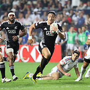 NZ 7's Samoan, Ben Lam, scores a try vs FFrance in their first game at the 2013 Hong Kong Sevens.  Photo by Barry Markowitz,  Courtesy Tri Marine/Samoa Tuna Processors, 3/22/13