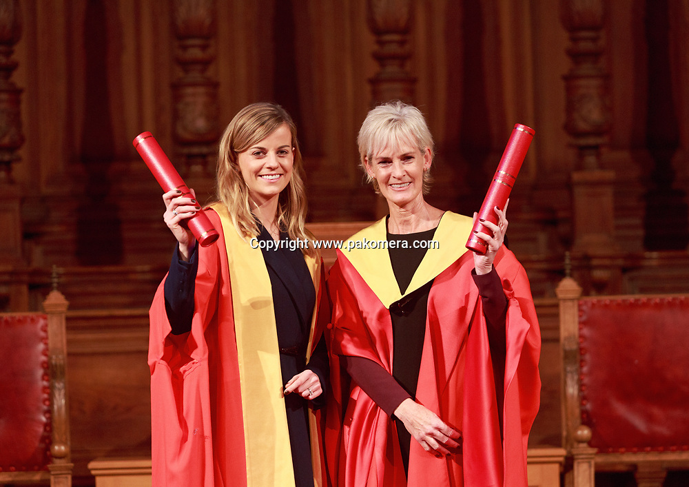 Famous Names from sport and cinema honoured by Edinburgh University. Five-time gold medallist Sir Steve Redgrave, tennis coach Judy Murray, Formula 1 racing driver Susie Wolff and film director Lynne Ramsay awared honorary degrees on 8th October 2013 <br /> <br /> Photos by Pako Mera