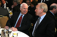Presidential candidate Senator John McCain R-AZ and Senator Joseph Lieberman D-CT talk  at the 56th National Prayer Breakfast in Washington, DC. on February 7, 2008.  photo by Dennis Brack