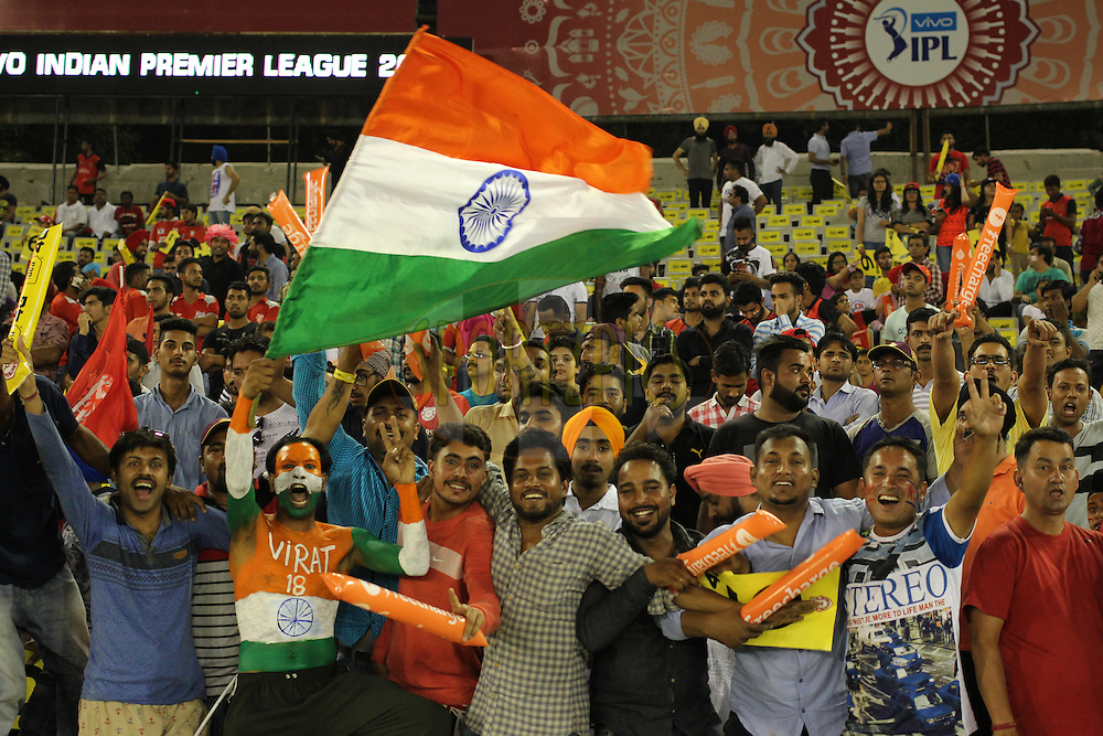 Fans during match 39 of the Vivo Indian Premier League ( IPL ) 2016 between the Kings XI Punjab and the Royal Challengers Bangalore held at the IS Bindra Stadium, Mohali, India on the 9th May 2016<br /> <br /> Photo by Arjun Singh / IPL/ SPORTZPICS