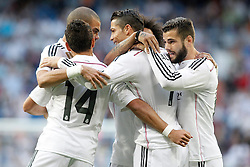 23.05.2015, Estadio Santiago Bernabeu, Madrid, ESP, Primera Division, Real Madrid vs FC Getafe, 38. Runde, im Bild Real Madrid's Pepe, Javier Chicharito Hernandez, Cristiano Ronaldo, Marcelo Vieira and Nacho Fernandez celebrate goal // during the Spanish Primera Division 38th round match between Real Madrid CF and Getafe FCat the Estadio Santiago Bernabeu in Madrid, Spain on 2015/05/23. EXPA Pictures &copy; 2015, PhotoCredit: EXPA/ Alterphotos/ Acero<br /> <br /> *****ATTENTION - OUT of ESP, SUI*****