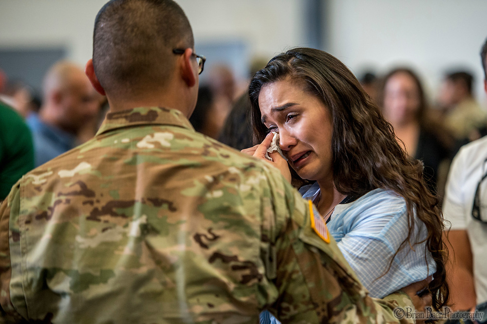 Specialist Jared Perez, comforts his sister Sharmayne Perez after the deployment ceremony for the California Army National Guard&rsquo;s 1st Battalion, 184th Infantry Regiment, at the International Jet Center at Sacramento Airport,  Saturday Sep 16, 2017. About 300 Soldiers from the California Army National Guard&rsquo;s 1st Battalion, 184th Infantry Regiment, will depart California this weekend for a yearlong training deployment to Jordan in the Middle East. <br /> photo by Brian Baer