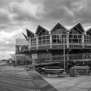 Black and White image of Tim McLoone's Supper Club by the boardwalk in Asbury Park, NJ