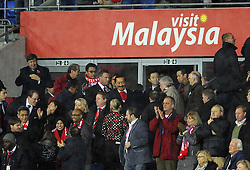 Cardiff City owner, Vincent Tan celebrates on the final whistle - Photo mandatory by-line: Joe Meredith/JMP - Tel: Mobile: 07966 386802 03/11/2013 - SPORT - FOOTBALL - The Cardiff City Stadium - Cardiff - Cardiff City v Swansea City - Barclays Premier League