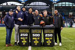 Bin it to win it with Worcester Wolves Basketball as well Gareth Simpson, Ed Fidow and Farai Mudariki of Worcester Warriors - Mandatory by-line: Robbie Stephenson/JMP - 15/02/2020 - RUGBY - Sixways Stadium - Worcester, England - Worcester Warriors v Bath Rugby - Gallagher Premiership Rugby