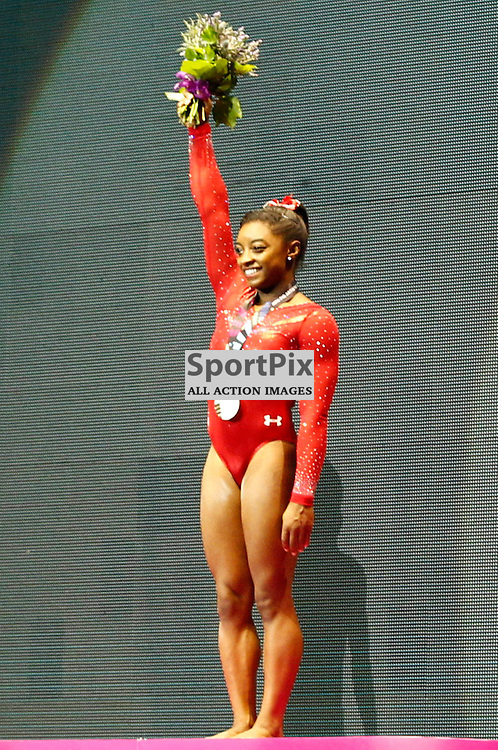 2015 Artistic Gymnastics World Championships being held in Glasgow from 23rd October to 1st November 2015.....Simone Biles (USA) Gold medal winner in the Women's All-Round Final...(c) STEPHEN LAWSON | SportPix.org.uk
