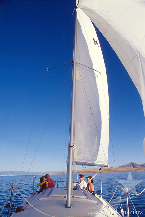 family sailing on Great Salt Lake, Utah, USA