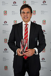 CARDIFF, WALES - Monday, October 5, 2015: Wales' Manager Chris Coleman with the Media Choice Award during the FAW Awards Dinner at Cardiff City Hall. (Pic by Ian Cook/Propaganda)