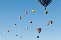 Fying balloons. Hot air Balloon Fiesta, October, 2010. Albuquerque, New Mexico, USA.