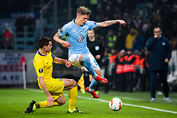 February 14, 2019 - MalmÃ, Sweden - 190214 Cesar Azpilicueta of Chelsea and Sören Rieks of Malmö FF compete for the ball during the Europa league match between Malmö FF and Chelsea on February 14, 2019 in Malmö..Photo: Ludvig Thunman / BILDBYRÃ…N / kod LT / 92225 (Credit Image: © Ludvig Thunman/Bildbyran via ZUMA Press)