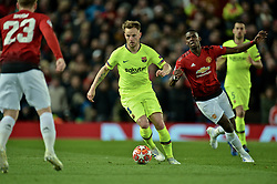 MANCHESTER, ENGLAND - Thursday, April 11, 2019: Barcelona's Ivan Rakitić (L) and Manchester United's Paul Pogba during the UEFA Champions League Quarter-Final 1st Leg match between Manchester United FC and FC Barcelona at Old Trafford. Barcelona won 1-0. (Pic by David Rawcliffe/Propaganda)