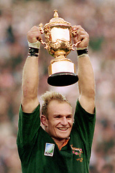 South Africa captain Francois Pienaar lifts the World Cup