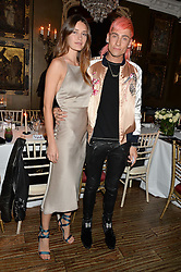 LYZA ONYSKO and KYLE DE'VOLLE at a dinner for JF London x Kyle DeVolle held at Beach Blanket Babylon, Ledbury Road, London on 29th September 2016.