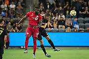 Toronto FC forward Jozy Altidore (17) and LAFC defender Walker Zimmerman (25) battle for the ball during an MLS soccer game between the LAFC and the Toronto FC. LAFC and Toronto FC tied 1-1 on Saturday, Sept 21, 2019, in Los Angeles. (Ed Ruvalcaba/Image of Sport)