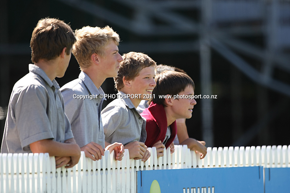 Some Hamilton Boys high school boys enjoying the action in Hamilton ,Cricket, Northern Knights Vs The Auckland Ace's during day four of their Plunket Shield Game at Seddon Park in Hamilton, Thursday 17 March 2011.<br /> Photo: Dion Mellow / photosport.co.nz