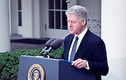 President Clinton makes a short statement after the Senate acquitting him of impeachment charges in the Rose Garden at the White House February 12, 1999. Clinton said he was profoundly sorry about the Monica Lewinsky scandal and also appealed for a time of reconciliation and renewal for America now that the long ordeal is over.