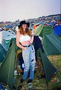Lesley at Glastonbury Festival, Somerset, UK, 1980s.