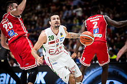 April 29, 2018 - Milan, Milan, Italy - Andrea Cinciarini (#20 EA7 Emporio Armani Milano) drives to the basket during a basketball game of Poste Mobile Lega Basket A between  EA7 Emporio Armani Milano vs VL Pesaro at Mediolanum Forum, in Milan, Italy, on April 29, 2018. (Credit Image: © Roberto Finizio/NurPhoto via ZUMA Press)