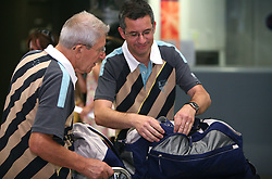 Coach Lojze Mikolic and Shooter Rajmond Debevec of Slovenian Olympic Team at departure to Beijing 2008 Olympic games, on July 31, 2008, at Airport Jozeta Pucnika, Brnik, Slovenia. (Photo by Vid Ponikvar / Sportal Images)/ Sportida)