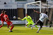 Swansea City midfielder Korey Smith (7) shoots at goal during the EFL Sky Bet Championship match between Swansea City and Birmingham City at the Liberty Stadium, Swansea, Wales on 19 September 2020.