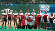 Aiguebelette, FRANCE CAN W8+, awards Dock,  at the 2014 FISA World Cup II. 13:59:29  Sunday  22/06/2014. [Mandatory Credit; Peter Spurrier/Intersport-images]