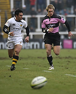 Newcastle - Sunday, February 7th, 2010: Chris Pilgrim of Newcastle Falcons and David Lemi of Wasps during the LV= group match at Newcastle. (Pic by Steven Hadlow/Focus Images)