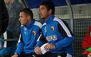 Watford U21 head coach Harry Kewell watches the action from the bench during the Final Thirds Development League match between U21 Crystal Palace and U21 Watford at Selhurst Park, London, England on 24 August 2015. Photo by Michael Hulf.