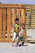 GOBI DESERT, MONGOLIA..08/25/2001.Kids at Bayanlig..(Photo by Heimo Aga).