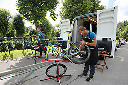 Workers of Tinkof before press conference of cycling race Po Sloveniji - Tour de Slovenie 2015 on June 15, 2016 in Hotel Jama, Postojna, Slovenia. Photo by Morgan Kristan / Sportida
