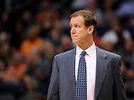Oct. 12, 2012; Phoenix, AZ, USA; Portland Trail Blazers head coach Terry Stotts reacts from the sidelines during the game against the Phoenix Suns at US Airways Center. The Suns defeated the Trail Blazers 104-93.  Mandatory Credit: Jennifer Stewart-US PRESSWIRE
