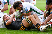London Irish back row Blair Cowan (7) scores a try during the Gallagher Premiership Rugby match between Wasps and London Irish at the Ricoh Arena, Coventry, England on 20 October 2019.