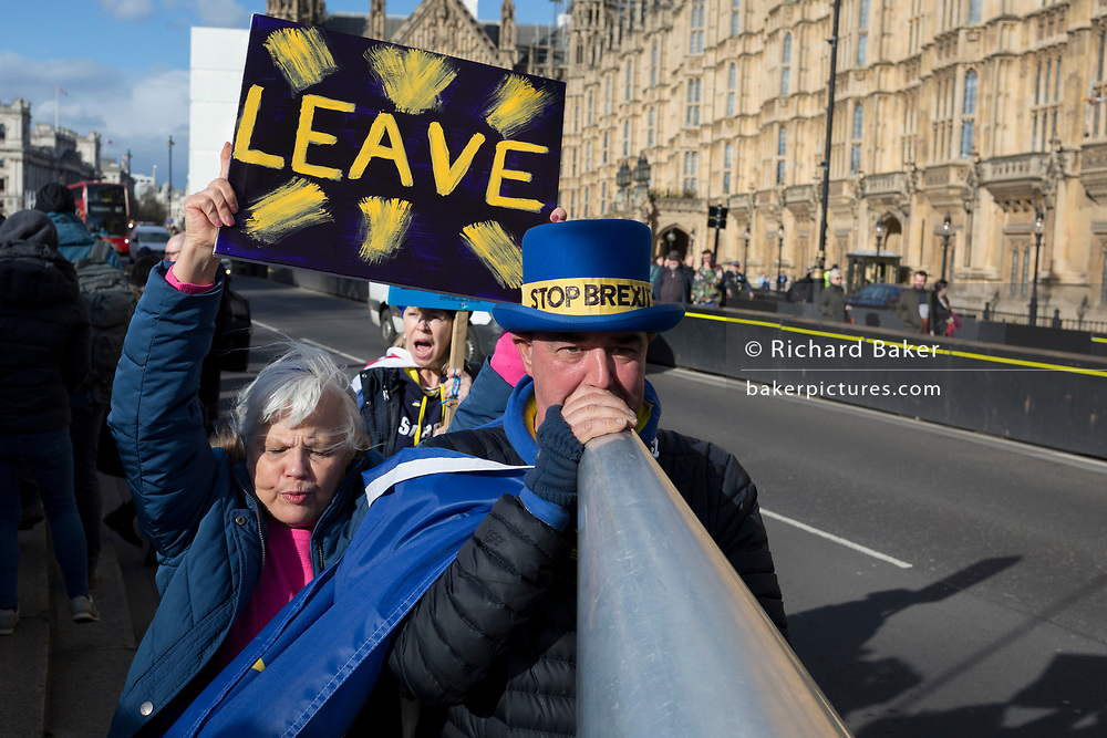 On the day that MPs in Parliament vote on a possible delay on Article 50 on EU Brexit negotiations by Prime Minister Theresa May, pro-EU activist Steve Bray is heckled by Brexiters during a protest outside the House of Commons, on 14th March 2019, in Westminster, London, England.