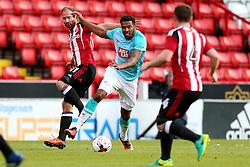 Cyrus Christie of Derby County skips past Matt Done of Sheffield United - Mandatory by-line: Matt McNulty/JMP - 27/07/2016 - FOOTBALL - Bramall Lane - Sheffield, England - Sheffield United v Derby County - Pre-season friendly